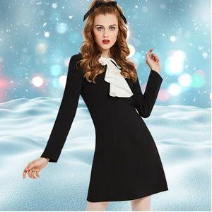 Mod 1960s Black Mini Dress with Ruffle Collar